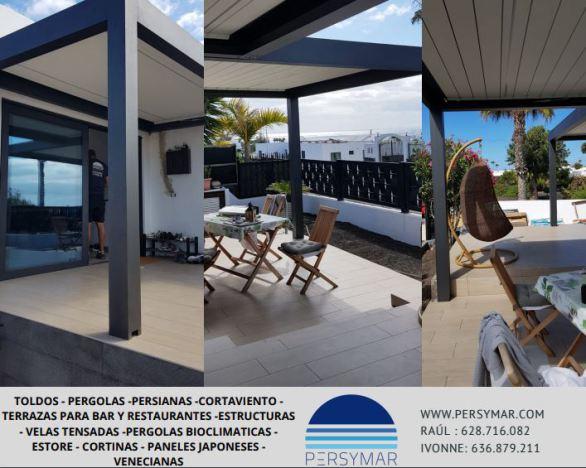 arrecife venta pergola,pergola bioclimatica lanzarote,terraza para bar,sombrillas,reformas,toldos,virus,covid fuerteventura
